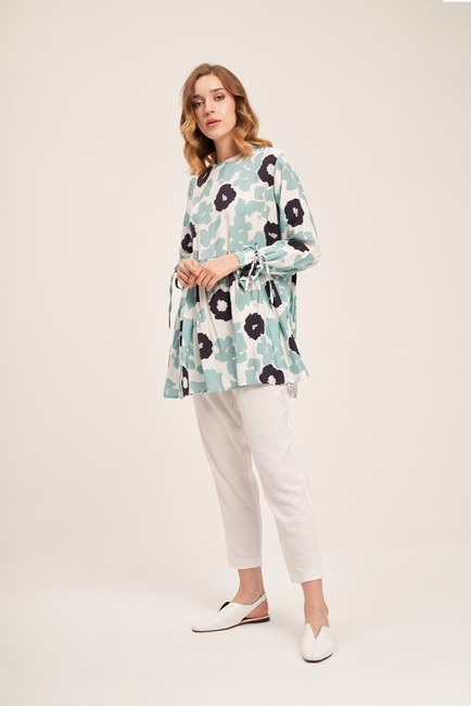 MIZALLE - Floral Detailed Tunic (Patterned) (1)