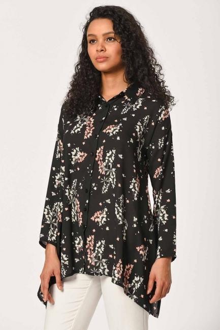Floral Patterned Shirt Blouse (Black) - Thumbnail