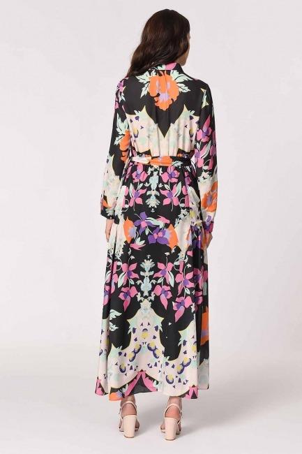 Floral Patterned Shirt Collar Dress (Mix) - Thumbnail