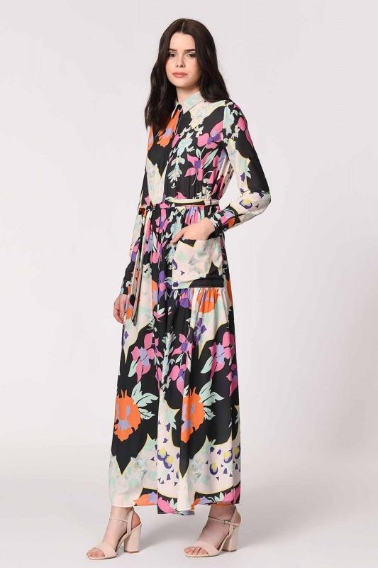 Floral Patterned Shirt Collar Dress (Mix)