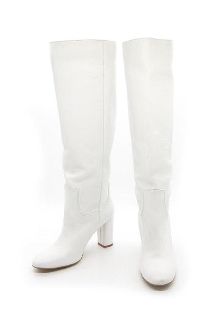 MIZALLE - Floter Deri Uzun Çizme (Beyaz) (1)