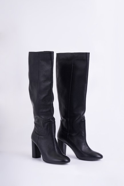 MIZALLE - Leather Long Boots (Black) (1)