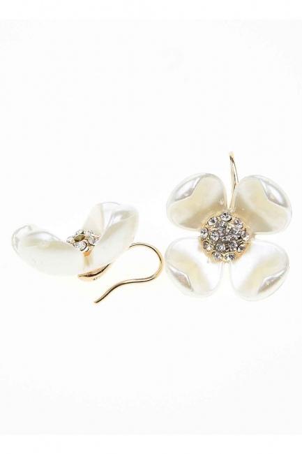 Flower Detailed Earrings (St) - Thumbnail