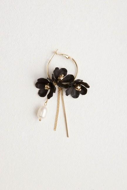Flower Detailed Hoop Earrings (Black) - Thumbnail