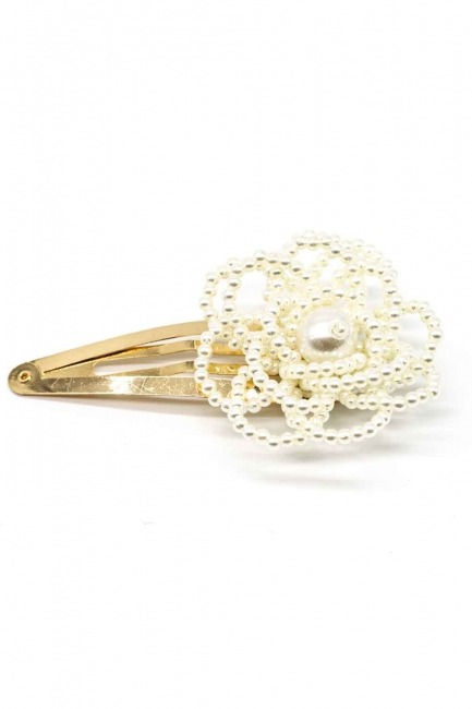Flower Detailed Pearl Hair Clips - Thumbnail