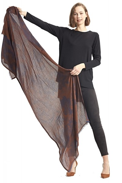Flower Patterned Shawl (Brown) - Thumbnail