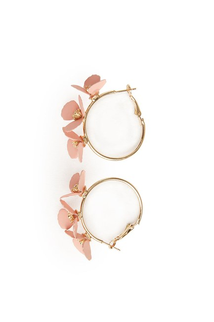 MIZALLE Flower Ring Shaped Earrings (Pink)