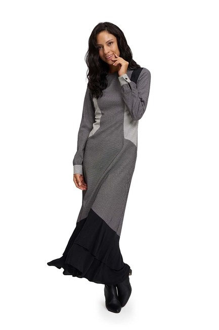 فستان بتنورة عريضة من تحت (اسود-ابيض) - Thumbnail
