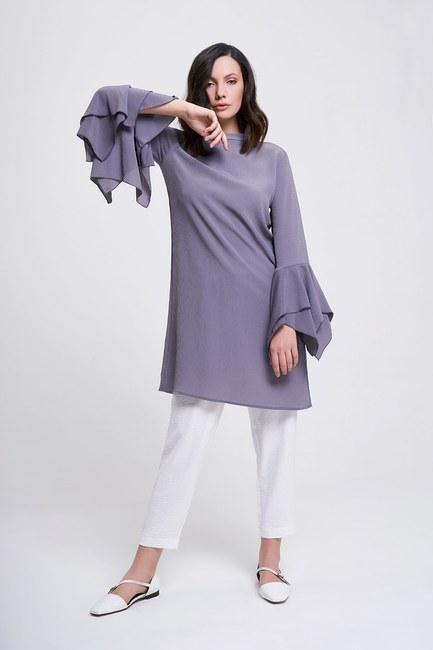 MIZALLE - Flywheel Sleeve Tunic (Grey) (1)