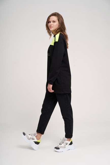 MIZALLE YOUTH - Focus Sweatshirt (Siyah) (1)