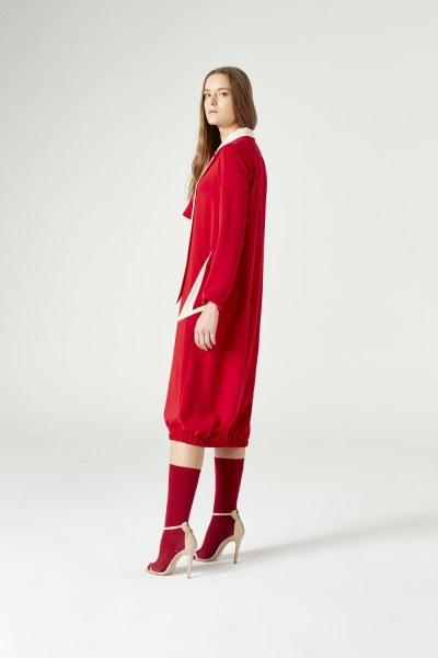 فستان بياقة على شكل وشاح فولار(أحمر) - Thumbnail