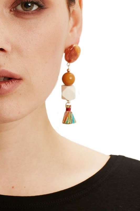 Fringe Detailed Earrings (Multi)