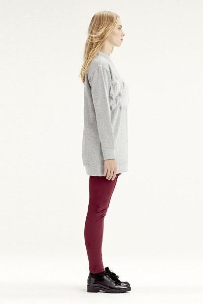 MIZALLE - Fringe Detailed Sweatshirt (Grey) (1)