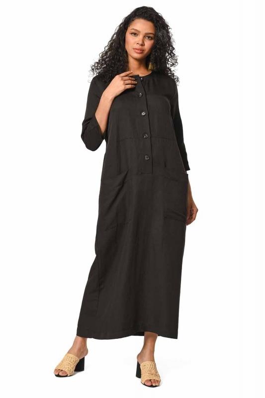 Front Button Linen Long Dress (Black)