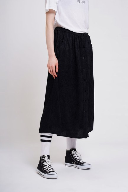 MIZALLE YOUTH - Front Buttoned Skirt (Black) (1)