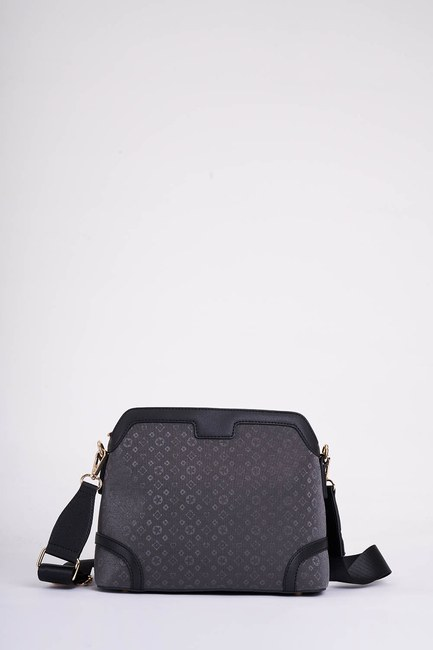 MIZALLE - Front Pocket Shoulder Bag (Black) (1)