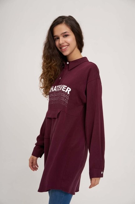 MIZALLE - قميص بطبعات أمامية (لون أرجواني) (1)