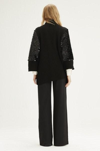 Fur Sequin Cardigan (Black) - Thumbnail