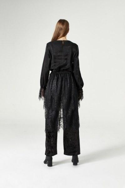 فستان مزين بدانتيل(أسود) - Thumbnail
