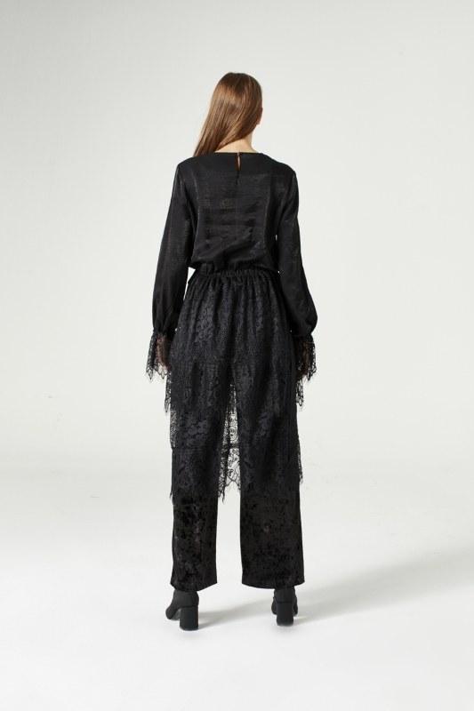 فستان مزين بدانتيل(أسود)