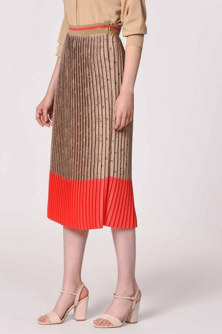 Pleated Skirt With Garnish Devore (Beige /Orange Red) - Thumbnail