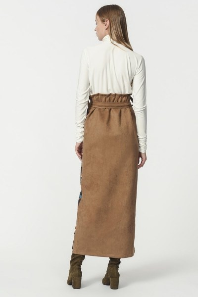 Garni Suede Skirt (Tan) - Thumbnail