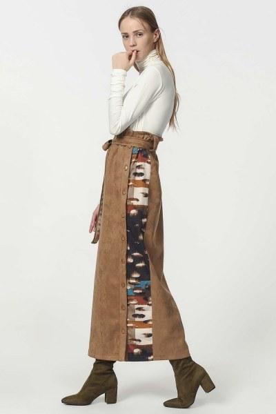 Garnish Suede Skirt (Tan) - Thumbnail