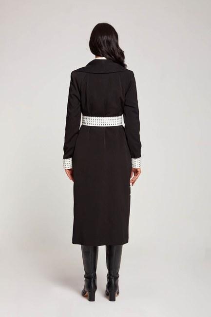 معطف منقوش بحزام منقوش (أسود) - Thumbnail