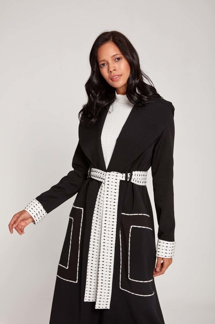 MIZALLE - Garnished Belted TrenchCoat (Black) (1)