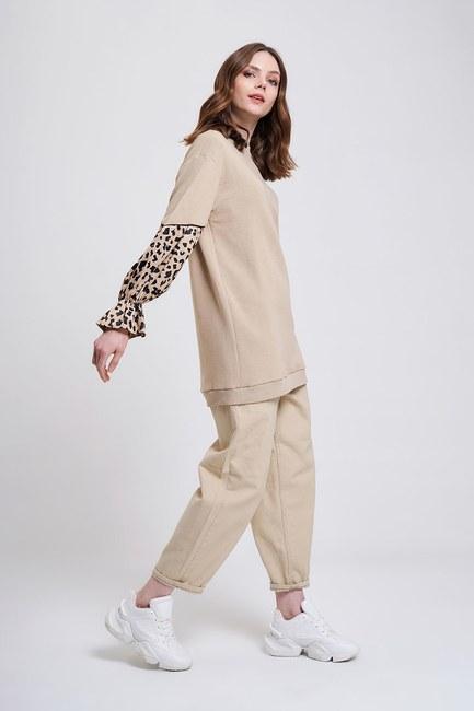 MIZALLE YOUTH - Garnished Sleeves Sweatshirt (Beige) (1)