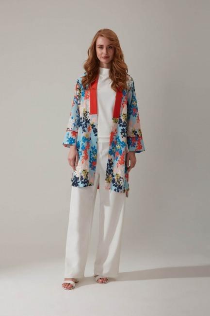 Mizalle - Çiçek Baskılı Kimono
