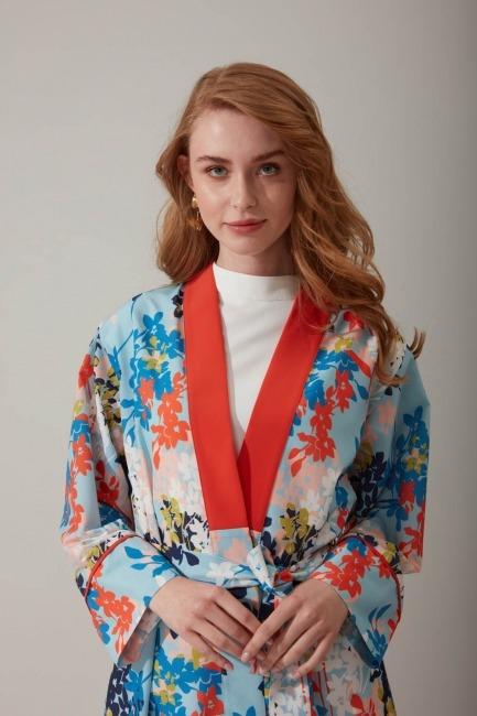 Çiçek Baskılı Kimono - Thumbnail