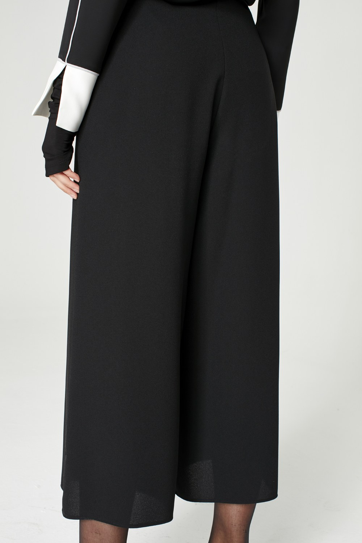 MIZALLE Geniş Kesim Pantolon (Siyah) (1)