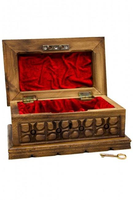 Geometric Walnut Jewelry Box (St) - Thumbnail