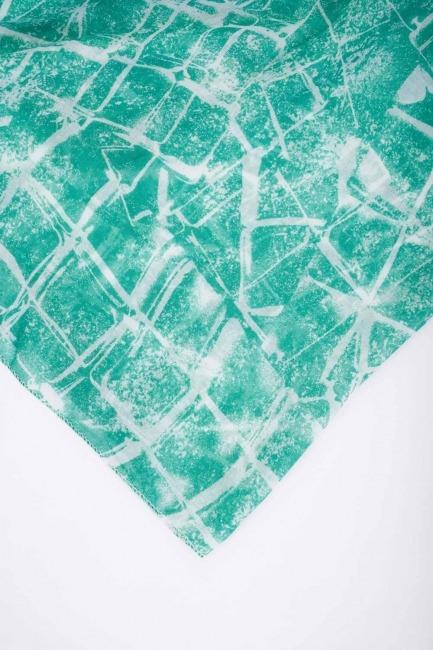 Geometrik Desenli Şal (Yeşil) - Thumbnail