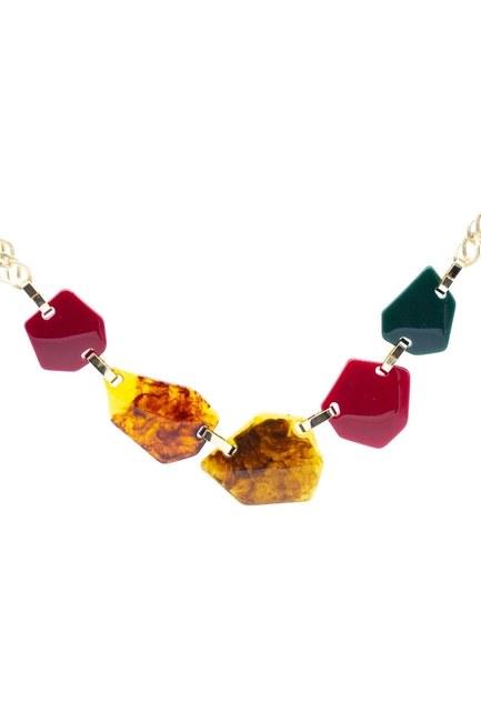 MIZALLE - Geometric Design Colored Necklace (Gold) (1)