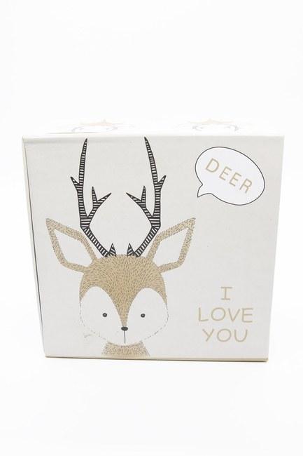 MIZALLE HOME - Cream Deer Patterned Box (14X14) (1)