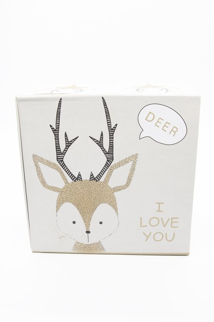 MIZALLE HOME - Cream Deer Patterned Box (16X16) (1)