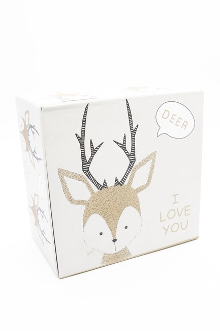 MIZALLE HOME - Cream Deer Patterned Box (18X18) (1)