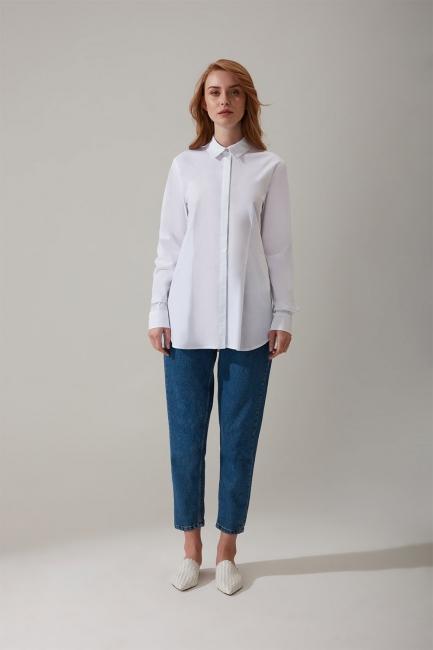 Mizalle - Gizli Pat Detaylı Beyaz Gömlek