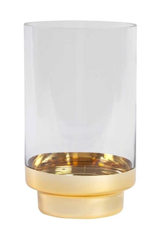 حامل شموع زجاجي مع حامل ذهبي (صغير)