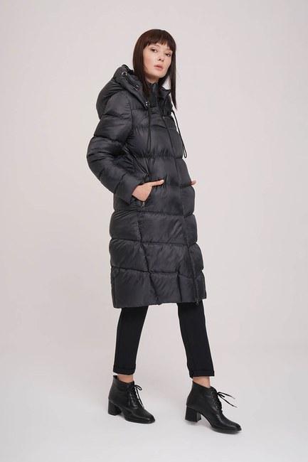 MIZALLE - معطف منتفخ لامع (أسود) (1)