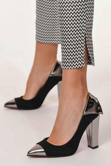 MIZALLE - حذاء اصبع القدم المصقول (أسود) (1)