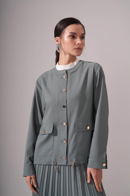 Düğmeli Krep Çağla Ceket