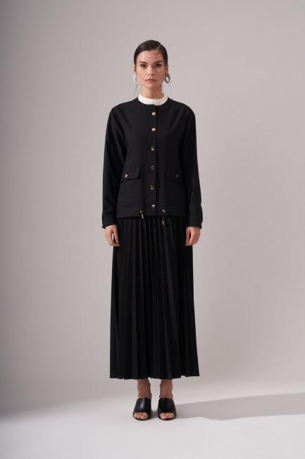 Mizalle - Düğmeli Krep Siyah Ceket