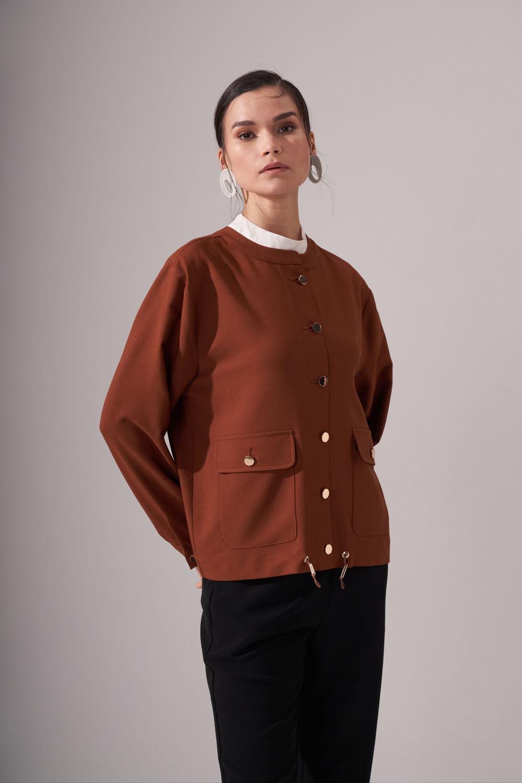 Düğmeli Krep Taba Ceket