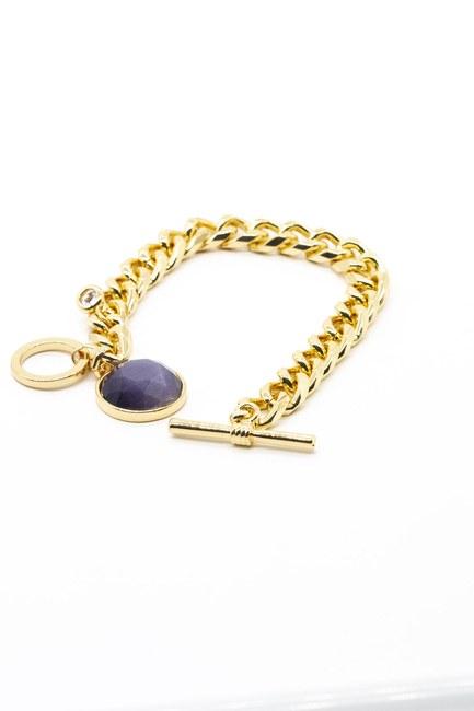 MIZALLE - سوار مطلي بالذهب بحجر (أزرق) (1)