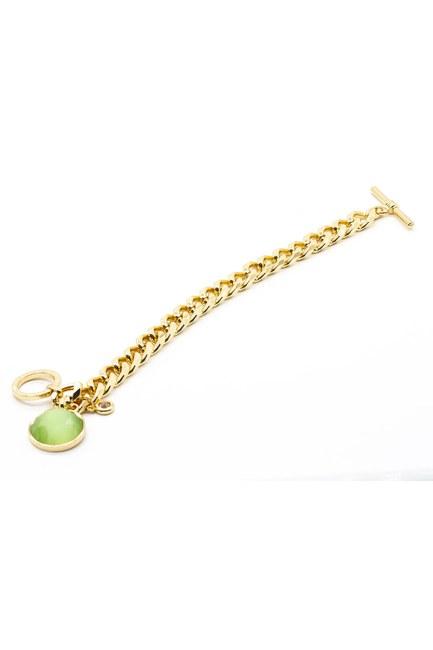 MIZALLE - سوار من الزركون مطلي بالذهب (أخضر) (1)