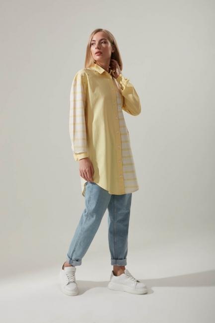 Gömlek Yaka Çizgili Sarı Tunik - Thumbnail