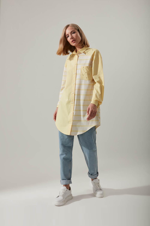Gömlek Yaka Çizgili Sarı Tunik